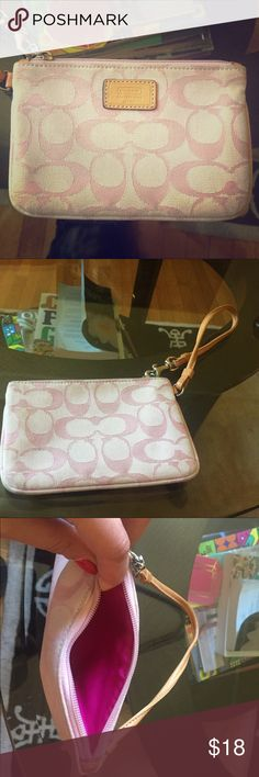 Pink Coach Wristlet Adorable Pink Coach Wristlet. Used but still in great condition. Coach Bags Clutches & Wristlets