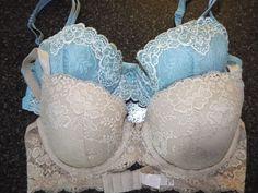 Angels Victorias Secret Bra size 34 D, Lined Demi, Beige, Blue set of 2 #VictoriasSecret #Demis