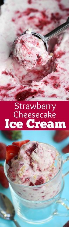 This Strawberry Cheesecake Ice Cream couldn't be yummier or easier! No churn, no ice cream maker needed, with bits of fresh strawberries and graham cracker crumble. | Tastes Better From Scratch