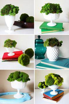 i <3 milk glass and moss http://ruffledblog.com/vintage-milk-glass-and-moss-centerpieces/