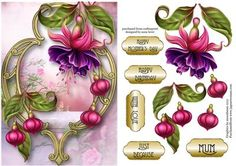 Fabulous Fuschias Golden Frame on Craftsuprint designed by Anne Lever - This lovely floral topper features beautifully painted fuschias on a fancy golden frame, with a soft, pretty background. It has a single layer of decoupage to add depth and five greetings to choose from. The greetings are, happy mother's day, happy birthday, with love, just because and mum.  - Now available for download!