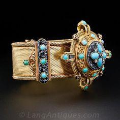 siglo 19 francés antiguo de la turquesa y oro pulsera del esmalte