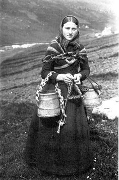 Knitting girl from the Faroe Islands, once belonging to Norway before a treaty gave the islands to Denmark in 1814