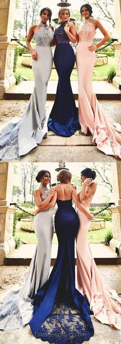 Trumpet/Mermaid Halter Tulle Silk-like Satin Court Train Appliques Lace Royal Blue Backless Stunning Prom Dresses #DGD020103600