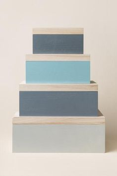 Bloomingville, Grey and Mint Wood Storage Box Set