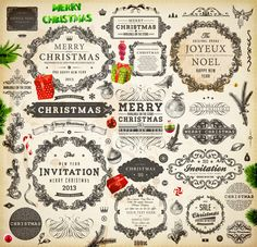 Vintage Christmas and New Year 2013 Ornaments vector 02