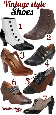 Vintage shoe styles for women The shoes featured above: 1. Bordello by Pleaser Women's Flora Boot 2. Eric Michael Esme Boot 3. Frye Women's Miranda T Strap 4. Portlandia Women's Calistoga Ankle Boot 5. Ros Hommerson Women's Opry Oxford 6. Re-Mix Vintage Women's Savoy Mary-Jane Pump 7. A2 by Aerosoles Women's Stroller Professional Shoes Like …. Women, Men and Kids Outfit Ideas on our website at 7ootd.com #ootd #7ootd