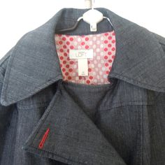 LOFT Denim Jacket Dark denim jacket from LOFT. Red and white dotted interior lining. Pleat detail. Worn a few times and in excellent condition. LOFT Jackets & Coats Jean Jackets