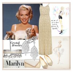 """""""Crystal Jewelry - Marilyn Monroe"""" by suncokret-12 ❤ liked on Polyvore featuring Vanity Fair, Post-It, Lilya, River Island, Blue Nile, Venna, Jimmy Choo, Gina Bacconi and crystaljewelry"""