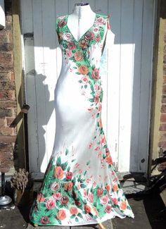 Gypsy Roses Handpainted Silk Satin Wedding Dress