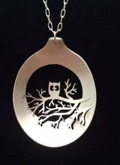 An Owl in a Tree Spoon Necklace Full Moon Silver Owl by SpoonTales