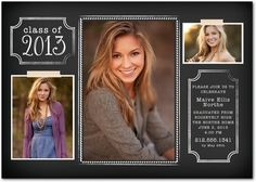 Graduation Invitations Edged Elegance - Front : Black