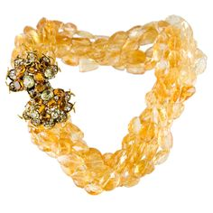 Iradj Moini Multi Strand Citrine Necklace | From a unique collection of vintage multi-strand necklaces at https://www.1stdibs.com/jewelry/necklaces/multi-strand-necklaces/