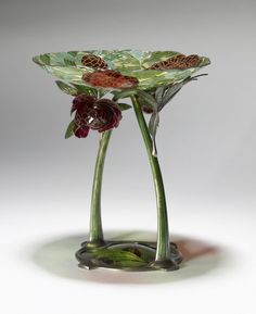 Art Nouveau Dish with Stem Gustav Gaudernack (Bohemian, 1865-1914) (Designer) Firm of David Anderson (Norwegian, founded 1876) (Manufacturer)  1904-1905 Silver gilding, plique-à-jour and cloisonné enamel ** Because ot its size and complexity, is regarded as an outstanding example of Norwegian Art Nouveau enamel work.
