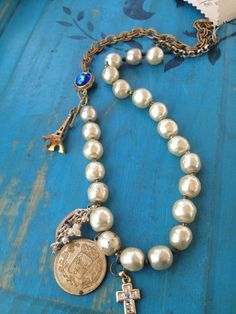 Parisian Vintage Charm Necklace by TheDoveCoteBrocante on Etsy. , via Etsy.