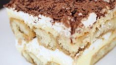This tiramisu recipe features rum and coffee-soaked ladyfingers layered with mascarpone custard and whipped cream. Double coffee and rum. Add Sugar to whipping cream. Köstliche Desserts, Delicious Desserts, Dessert Recipes, Tiramisu Ii Recipe, Icebox Cake, Dessert Table, Baked Goods, Bruschetta, Sweet Tooth