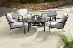 Jamie Oliver Contemporary 4 Seater Fire Pit Set - Riven/Pewter - £1099 | Garden4Less UK Shop