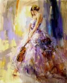 violin paint | flirting With A Violin painting - Anna Razumovskaya flirting With A ...