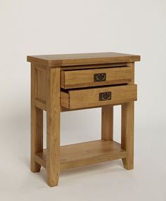 Provence Oak Small Console Table With 1 Drawer and 1 Shelf - Console Tables - Lounge & Living