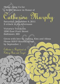 Yellow and grey Bridal Shower Invitation