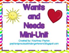 Wants and Needs Unit for Kindergarten. Perfect for this time of year! $