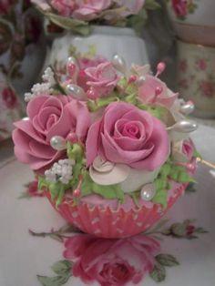 (Princess Grace) Fake Cupcake Fake Cupcakes, Floral Cupcakes, Fake Cake, Victorian Cakes, Victorian Dolls, Cookie Recipes For Kids, Cookies For Kids, Cupcake Centerpieces, Cupcake Soap