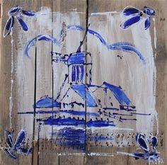 schilderij molen delftsblauw steigerhout 40 x 40 cm