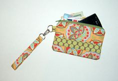 Star Paisley Apricot and Full Moon Polka Dot Linen - Wristlet Purse with Removable Strap and Interior Pocket