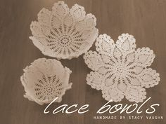 This is so cool. Make bowls and plates out of doilies from a Dollar Store.