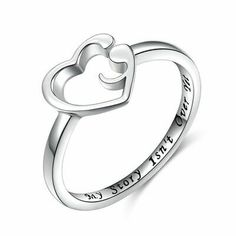 Heart Ring 925 Sterling Silver Ring Heart Semicolon Ring Size: 5 to 12 Wedding heart ring gift for a Heart Shaped Rings, Heart Ring, Fashion Rings, Fashion Jewelry, Sterling Silver Rings, Girls Jewelry, Jewelry Box, Jewlery, Tatuajes