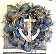 Summer nautical wreath.Anchor door hanger by kyprims.Click for more info.