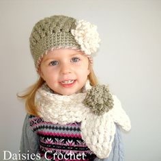 Girl Hat and Scarf set with Coral Flowers in Grey and White by Daisies Crochet