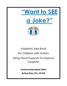 """As a speech pathologist, I always though it was so hard to teach a child with autism how to tell a joke. After creating this, my own 4 year old girl wants to tell jokes. It includes-how to start a joke-how to respond to a joke-a sample """"Knock, Knock"""" board, which can be adapted-15 jokes using visual to tell the joke, explain why it's funny and to find out if they liked the joke.Great tool for anyone working with a child with Autism or is a parent!"""
