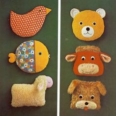 scan from vintage craft book ✭ DIY stuffed animals. Luke could make the ones on the left.