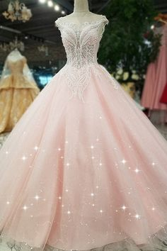 Romantic Tulle Bateau Neckline A-line Wedding Dress With Lace Appliques & Beadings
