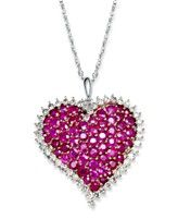 14k White Gold Necklace Ruby 6 1 2 Ct T W And Diamond
