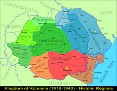 Map of the regions of Greater Romania with all the stolen territories of other countries (Moldavia, Bulgaria, Hungary) Constanta Romania, Historical Maps, Eastern Europe, Me On A Map, Old Pictures, Shopkins, Bruschetta, Calculator, Genealogy