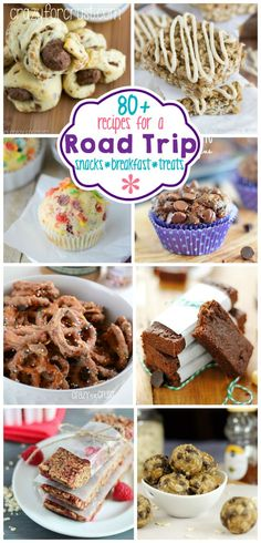 Over 80 Road Trip Snacks, Breakfast, and Treats for your summer vacation-- yummy😍 Road Trip Snacks, Travel Snacks, Lunch Snacks, Yummy Snacks, Yummy Treats, Snack Recipes, Cooking Recipes, Yummy Food, Road Trips