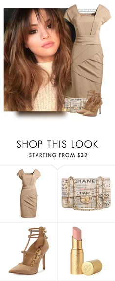 """Selena Gomez Cap sleeve dress"" by priscilla12 ❤ liked on Polyvore featuring Oris, Chanel, Sam Edelman and Too Faced Cosmetics"