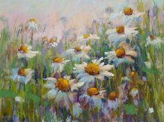 How to Paint Daisies in Pastel Using a Watercolor Underpainting, painting by artist Karen Margulis