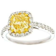 Preowned 2.0 Carat Cushion Cut Natural Fancy Intense Yellow Diamond... ($28,000) ❤ liked on Polyvore featuring jewelry, rings, yellow, canary diamond ring, yellow gold diamond ring, 18k yellow gold ring, gold jewelry and yellow gold jewelry