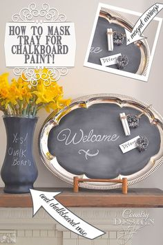 How to mask a thrift store metal tray for spraying with chalkboard paint. {or how I do it!} Plus more thrifty tips. Country Design Style Craft and DIY Projects and Tutorials Chalk Paint Projects, Craft Projects, Diy Chalkboard, Chalkboard Paint Crafts, Blackboard Paint, Chalkboard Drawings, Chalkboard Lettering, Silver Trays, Silver Platters