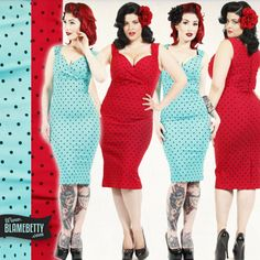Sexy, sophisticated and old Hollywood glam! The Polka Dot Diva Dress is the perfect wardrobe piece for a retro work look or for a bombshell pinup outfit! #blamebetty #polkadot #sexydress