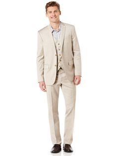 Regular Fit Tan Herringbone Suit