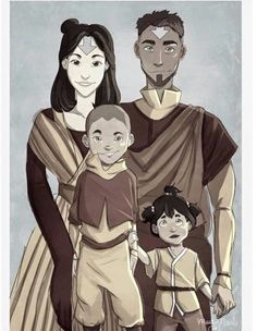 Jinora and Kai all grown-up with kids