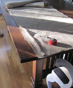 Fringed Burlap Table Runner
