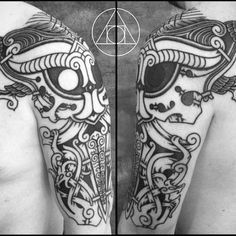 More angles of Odin and pensive ravens by @blackhandnomad . For your project get in touch at meatshoptattoo@gmail.com