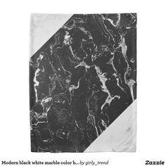 Modern black white marble color block duvet cover
