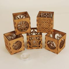 Wooden Tea Light Holders with glass insert Wood Laser Ideas, Laser Cut Wood, Laser Cutting, Wooden Pencil Box, Wood Crafts, Diy And Crafts, Puzzle Lights, Wood Pallet Art, Laser Cutter Projects