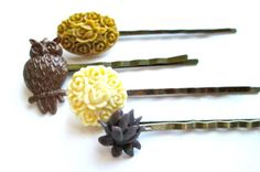 Woodland Hairpins Brown Owl Hair Accessories Bobby by PlumePretty, $18.00